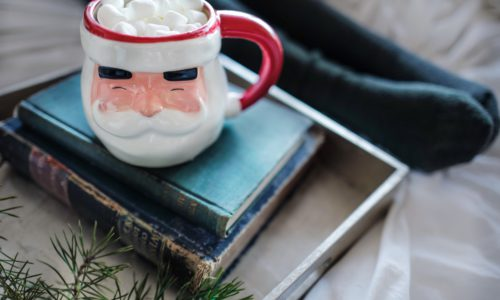 santa mug on pile of books
